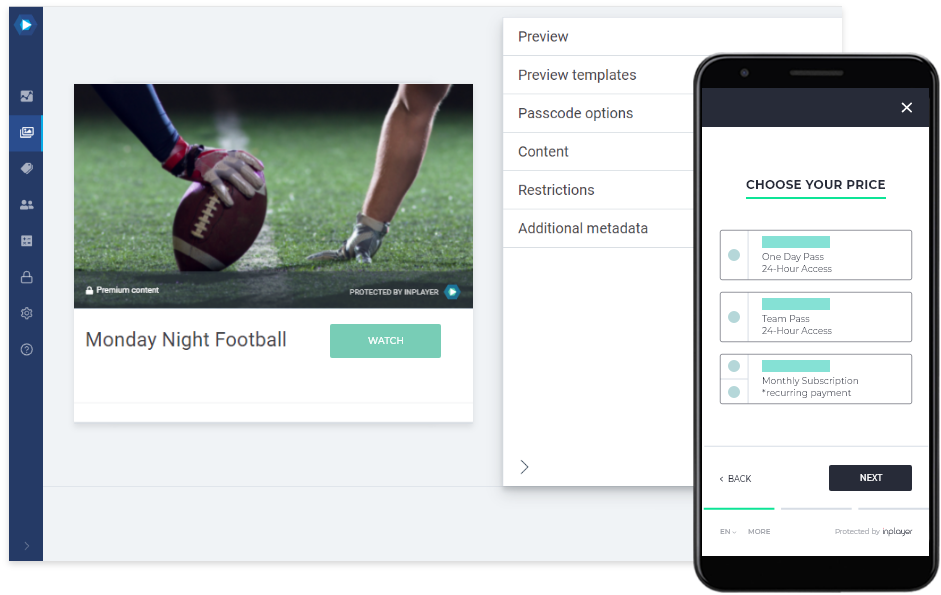 Monday Night Football streaming platform design layout on desktop and mobile platforms